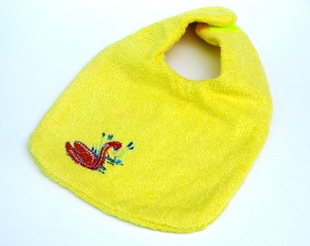 Embroidered Swan Baby Bib, Cute Terry cloth Bib, Bright Yellow,  Natural Terry,  Eco-friendly Bib