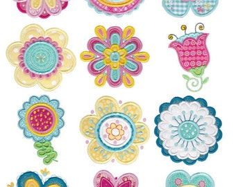 Cute Flower Applique Machine Embroidery Designs 4x4 5x7 & 6x10