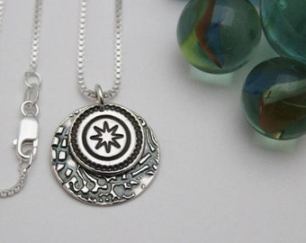 Silver Star and Full Moon Necklace