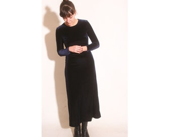 Vintage 1990s Blue Velvet Long Sleeve Fitted Stretch Dress size S