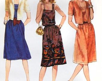 Sundress pattern McCalls 7506 Waist Length Jacket Sun Dress Bust 32, 34, 36 Blouson top dress Side seam pockets Square neckline Complete