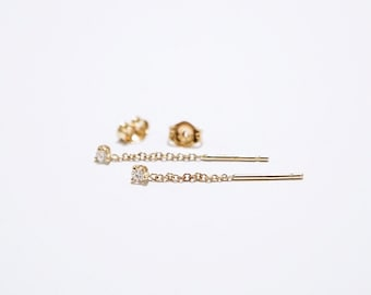 Diamond Dangle Chain Earrings, Chain Earrings, Dangle Earrings, diamond earrings