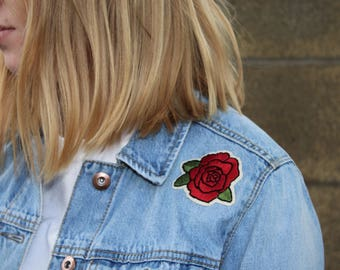 Hand-Stitched Rose Embroidery Patch | Iron-on Flower Patch