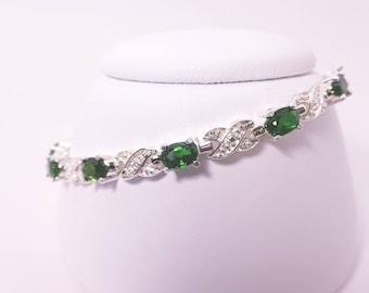 Sterling Silver Chrome Diopside Bracelet