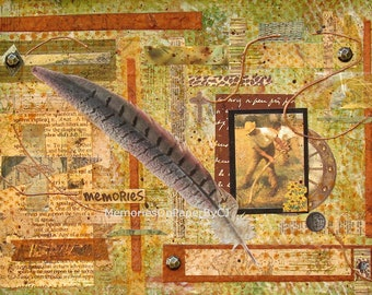 Decorator's Wall Art Hand painted Mixed Media Original Collage, Memories