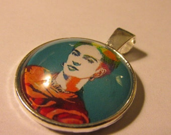 Silver Tone Glass Dome Cabochon Pendant of Artist Frida Kahlo, 1""