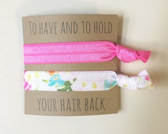 Bridesmaid hair tie favors//hair ties, hair tie card, hair tie favors, bridesmaid gift, bachelorette gift, wedding, bride, party favors