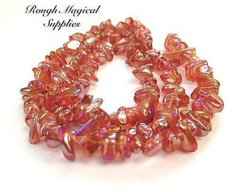 Peach Orange Copper Glass Bead Chips, Golorful Iridescent Fire Polished Glass, 7 Inch Half Strand Approx 50 Pieces, DIY Jewelry Making SP710