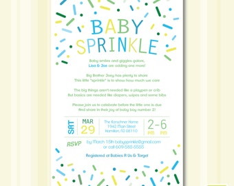 Baby Boy Sprinkle Invitation - Digital File