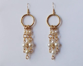 Chandelier Circle Gold Tone Earrings Faux Pearl Dangles French Hook Ear wires 3 1/4 Inches