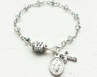 Kids rosary bracelet- personalized rosary bracelet- first communion gift- children's rosary bracelet- personalized gift for first communion