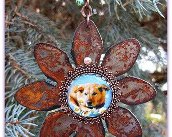 Rusted Flower Photo Ornament, Pet Photo Ornament, Pet Sympathy Ornament, Custom Photo Ornament, Personalized  Photo Ornament, Pet Loss Gift