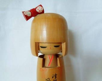 1137 : Kokeshi doll,Nice Vintage Japanese wooden Sosaku Kokeshi doll ,ARTIST'S Work,marked, Handcrafted in Japan