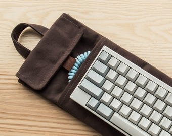 Dark Brown | 60% Mechanical Keyboard Sleeve or Carry Case | Water Resistant Lightly Waxed Canvas and Leather | Made to Order