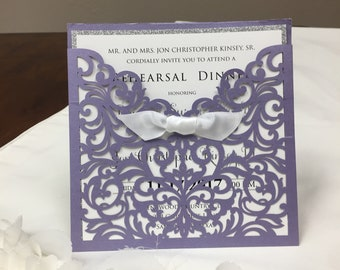 Shimmer Laser Cut Square Invitation with bow - Elegant Square Wedding Laser Cut Lavender, Ivory, Blush, Navy lots of colors available!