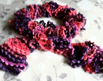 Varigated Pink Loopy Scarf- Handmade in Smoke and Pet Free Home