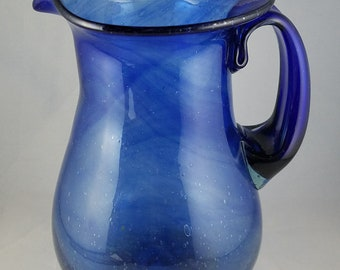 Swirly Blue Cobalt Glass Pitcher--Mouth Blown