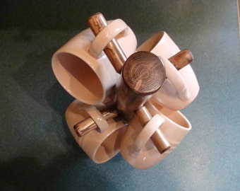 """Rustic Coffee Mug Holder Tree w/4 Spruce Pegs (13.5"""" T x 7.5 W) for Counter Top"""