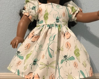 Fun Spring Bugs dress for American Girl or Other 18 inch Doll