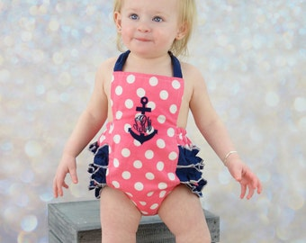 Nautical Sunsuit, Anchor Monogrammed Sunsuit, Baby Girl Sunsuit Romper, Ruffle Romper, Toddler Girl, Beach Pictures, Beach Outfit