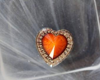 large orange cabochon heart scrapbooking