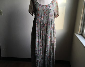 vintage 90s rampage rayon gauze made in india sage green floral high waist short sleeve scoop neck maxi dress
