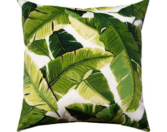 Banana Leaf Outdoor Pillow Cover, Palm Green Pillow, Tropical Pillow, Green Outdoor Cushion, Green Swaying Leaves Pillow, Tropical Decor