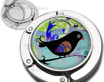 Whimsical Bird Foldable Purse Hook Bag Hanger Lipstick Compact Mirror