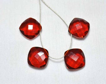 12mm Red Hydro Quartz, Square Shape, 22.50 Carats, Red Color, Quartz Faceted Gemstone, Side Drilled, Gemstone For Jewelry