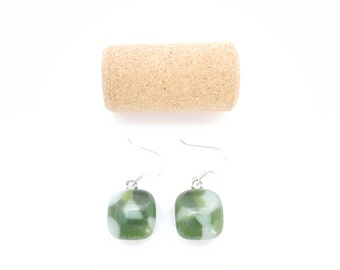 Recycled wine bottle earrings in green and white glass on sterling silver/Eco-friendly upcycled green and frosted glass kiln-fused earrings