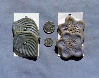 Set of Mauve Flower or Leaf Shaped  Buttons