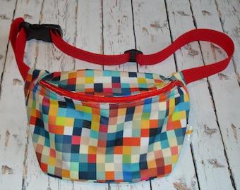 Multicolor pixels squares Waterproof hip bag waist fanny pack belt bag bum bag