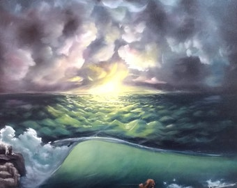 "Original Seascape Oil Painting, Sunset Flame, 20""×16""×1/2"""