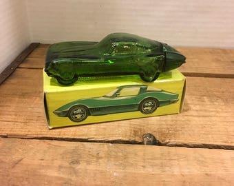 Vintage Avon bottle corvette stingray 65 glass green retro transportation cars mancave gift collector