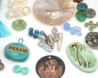 Laurel's Bead Box - a blue green designer's assortment of artisan pendants, premium beads and components - theme Dreaming of Mermaids