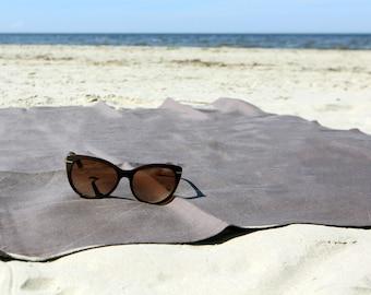 Beach towel 100% linen 35 x 58″ - brown picnic blanket - sauna towel - bath towel sheet - spa towel - gift