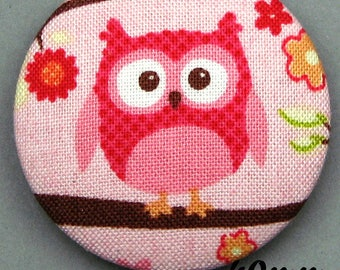 Fabric - OWL - 40mm (BP ANF 40 32) covered button