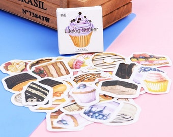FREE SHIPPING Cakes and Cupcakes Stickers, Birthday Stuckers, Kawaii Stickers