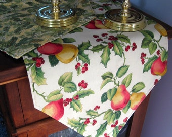 Christmas Pears and Holly Table Runner 72-90 Inch Reversible Christmas PearsTable Runner Christmas Holly Table Runner Long Christmas Runner