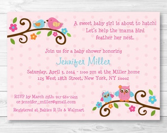 Cute Pink Owl Baby Shower Invitation / Owl Baby Shower Invite / Bird Baby Shower Invite / Woodland Baby Shower / Baby Girl / Printable A226