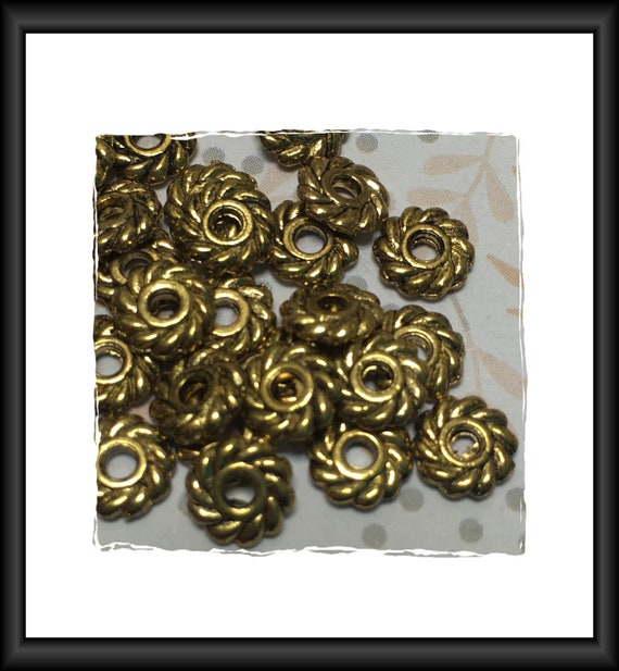 Antique Gold Spiral Ring Spacer Beads 7 mm Round - 15 beads
