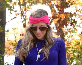 Buy 2 get 1 FREE!! Hot Pink Twist Headband, Jersey Twist Headband, Workout Headband, Boho Hairband, Twist Headband, knot headband