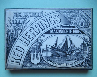 Vintage Advertising Plaque.  Replica Fish tin Lable.  Black and White vintage lable.  Bygone tin lable.  Maconochie Brothers. Lowestoft