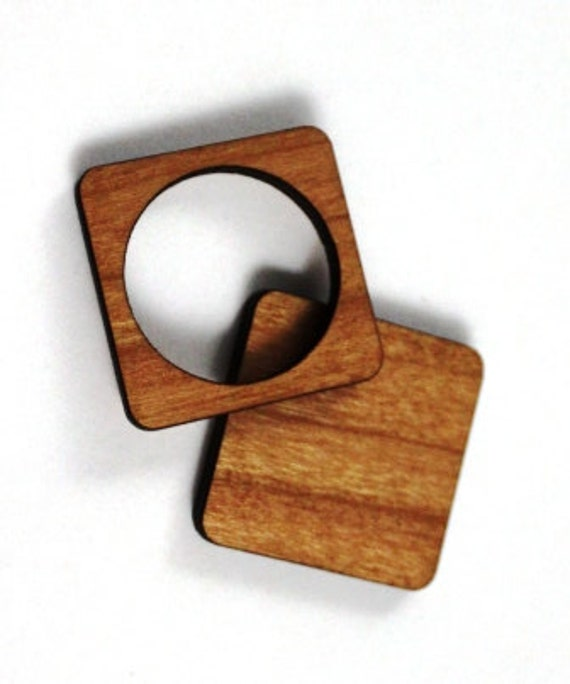 Laser Cut Supplies-1 Piece.Circle/Square FrameCharms-Cherry Wood Laser Cut -Brooch Supplies- Little Laser Lab Sustainable Wood Products