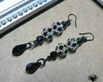 Diamante Sparkle Glitter Balls drop earrings