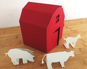 Red Barn Paper Craft Kit with Animals, DIY Home Decorating Project