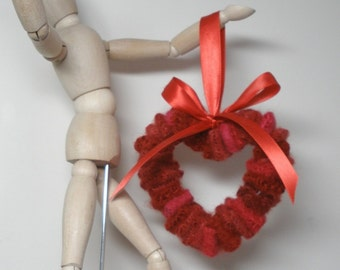 Felted wool heart ornament