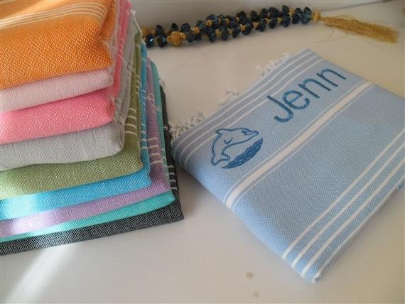 Wedding Gift Towels: Set Of 8 Turkish Monogrammed Towels Beach Wedding Gift