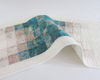 Quilted Batik Table Runner -  a beautiful transition from cream and beige to turquoise is a unique accent for your table