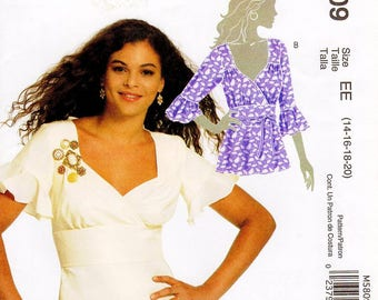 Sz 14/16/18/20 - McCall's Top Pattern M5809 - Misses' V-Neck, Mock Wrap Top in Two Variations - McCall's Patterns
